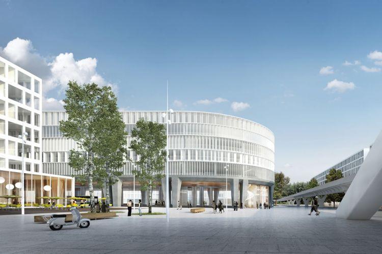 Parc Relais Cesson-Vialsilva - vue depuis la station de métro - © Ateliers O-S architectes - Image non contractuelle