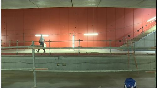 Station Les Gayeulles - Aout 2018 - Installation chantier second oeuvre - Finitions gros oeuvre tunnel