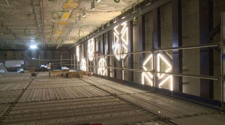 Station Saint-Germain - Septembre 2018 - Pose des luminaires muraux