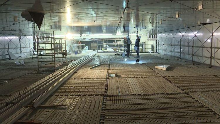 Station Colombier - Février 2019 - Pose des faux-plafonds suspendus et installations électriques
